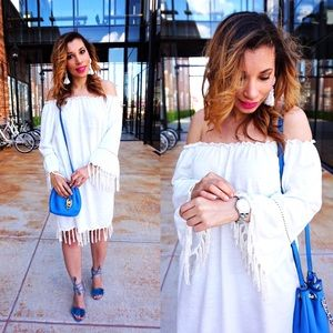 White Off the Shoulder Tassel dress