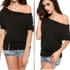 Black OFF the Shoulder Fitted Bottom Top! SALE