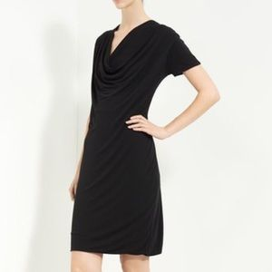 Piazza Sempione Black Draped Jersey Dress 10 NWT