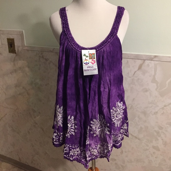 India Boutique Tops Nwt Purple Tie Dye Boho Embroidered