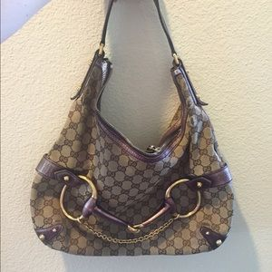 REDUCED Authentic Gucci Monogram Horsebit Hobo Bag