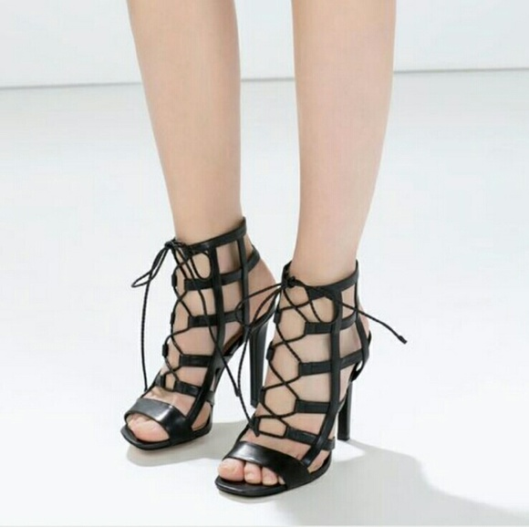 283946cb5b3d ZARA leather Lace Up Wraparound cage heel sandal. M 57190a9b4225bec211005b38