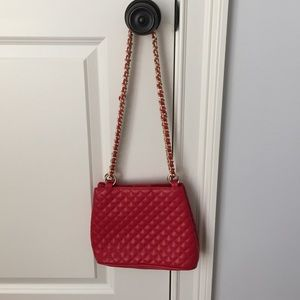 Red quilted leather shoulder or cross body bag