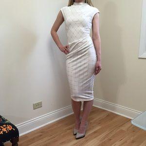 White Velvet Midi Bodycon Dress