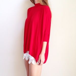 | new | red high neck top