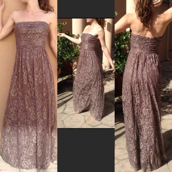 Max & Cleo Dresses & Skirts - Max & Cleo Formal Gold Lace Maxi Gown Wedding Prom