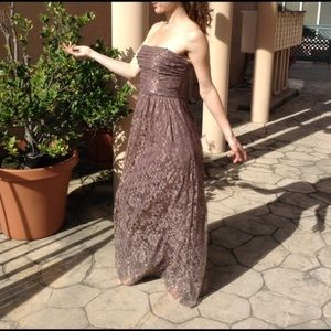 Max & Cleo Dresses - Max & Cleo Formal Gold Lace Maxi Gown Wedding Prom