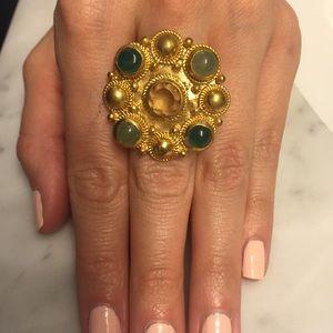 J. Crew Jewelry - J. Crew Ring with Green Gemstones, size 6
