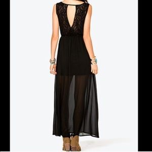 Lace back maxi dress with sheer bottom