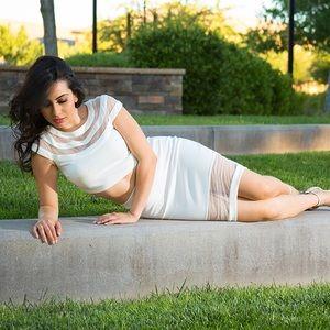 Dresses & Skirts - Mesh White Two Piece Set