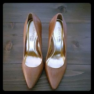 NWOT Cathy Jean Brazil tan leather pumps