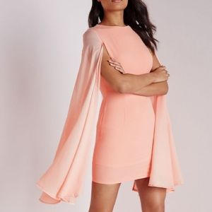 Missguided Dresses & Skirts - NWT - Crepe flared sleeve bodycon dress in Blush