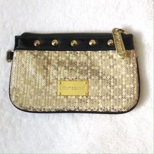 Betsey Johnson Gold Sequin Wristlet or Makeup Bag