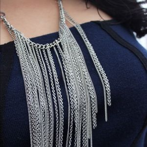 Forever 21 Jewelry - Forever 21 Silver Chain Fringe Necklace