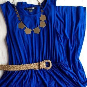 Blue midi dress with pleated skirt