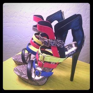 "Multi color strappy platform 4.5"" heel never worn"