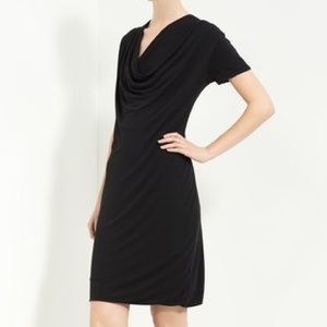 Piazza Sempione Black Draped Jersey Dress 8 NWT
