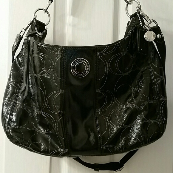 0cf29bd8 Coach black patent leather jacquard bag