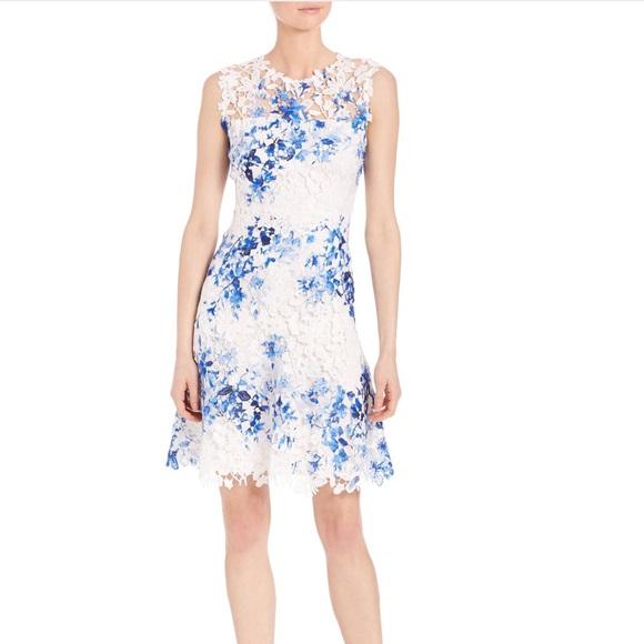 Elie Tahari Kaisa Blue And White Lace Dress Nwt Nwt