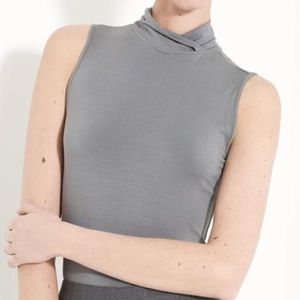 Armani Grey Featherweight Jersey Mock Neck Top 12