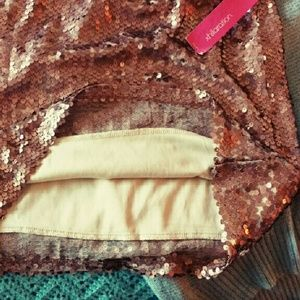 Xhilaration Skirts - Metallic Rose Sequin Miniskirt