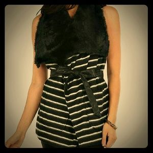 Faux fur striped vest