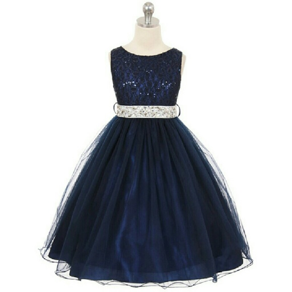 18de81700f Dresses | Navy Blue With Silver Sash Sequined Bodice Dress | Poshmark