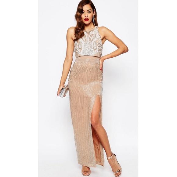 cba599e15d ASOS Dresses | Red Carpet Embellished Crop Top Maxi Dress | Poshmark