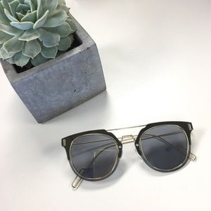 Grey & Gold Double Bridge Sunglasses