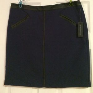 NWT navy blue midi skirt with faux leather trim