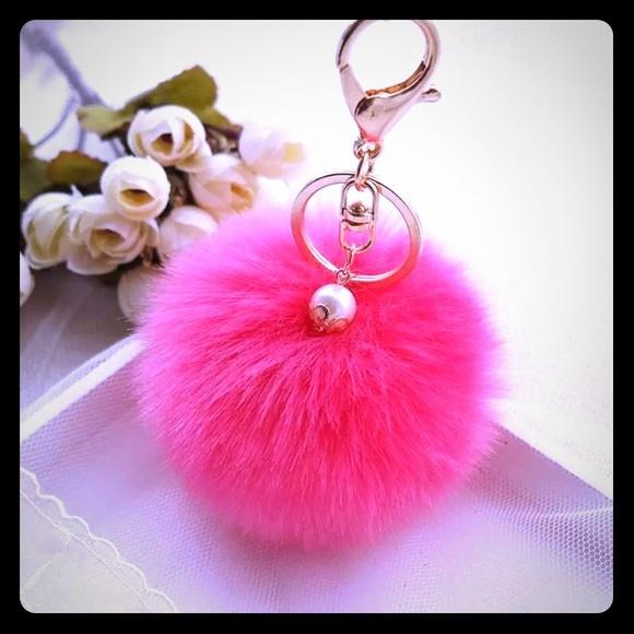 Hot Pink Fluffy Rabbit Fur Ball Keychain pearl fb9ebcd04a15