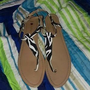 Zebra print sandals.