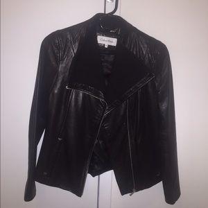 Calvin Klein women's black leather jacket