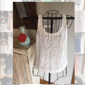 Sheer Zebra Patterned Tank Top