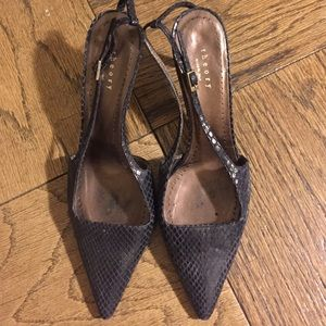 Theory black/charcoal snake skin 3 inch pumps