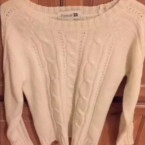 Forever 21 sweater cable knit white S