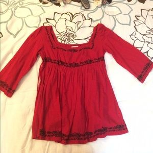 Flowy red and black blouse