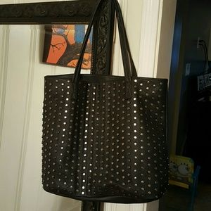 Handbags - Black shoulder purse with studs.