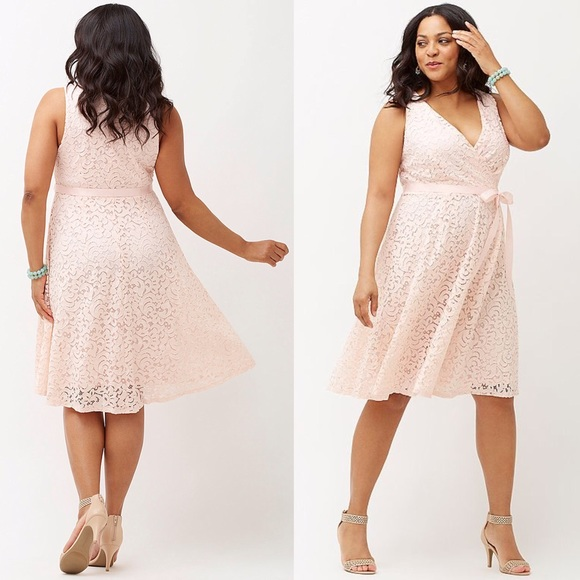 Lane Bryant Pink Lace Fit & Flare Dress Plus Size NWT