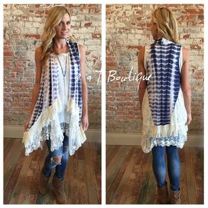 2 a T Boutique  Other - Tie-dye fringe cardigan