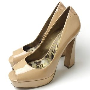 Sam Edelman Nude Tacoma Open-Toe Pumps
