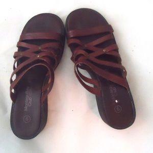 Vintage Shoes - Platform Wedge Sandals Leather Tooled Leather 8.5