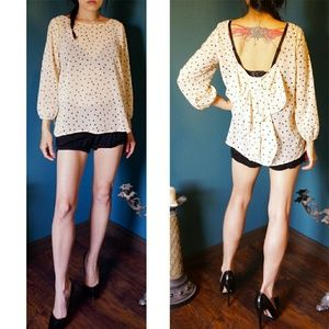 BOGO! Cream polka dot bow blouse modcloth S