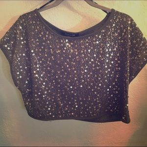 Gray and Gold sequin crop top
