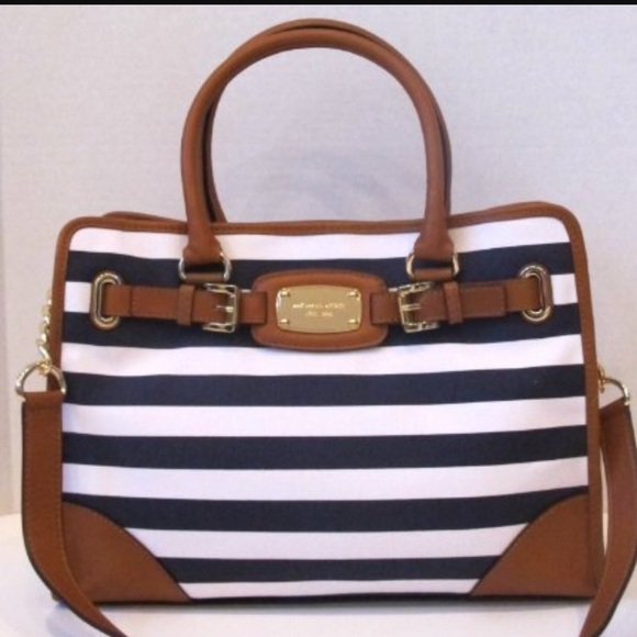be9173bd869758 MICHAEL Michael Kors Bags | Micheal Kors Hamilton Striped Blue And ...