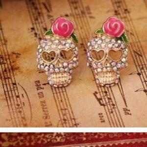 Jewelry - Pink Rhinestone Skull Earrings