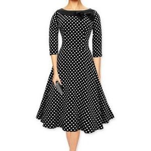 Dresses & Skirts - Navy blue polka dot vintage dress Material: cotton