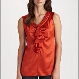 Armani Collezioni Coral Orange Silk Blouse 12 NWT