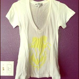 Wildfox Tee shirt V neck white XS