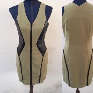 Olive and Green Faux Leather Dress